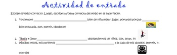 Spanish Realidades 2 4-A/B & Imperfect Entry Activity #2 C