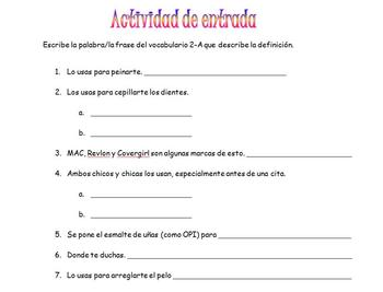 Spanish Realidades 2A Vocabulary Definition Entry/Exit Activity