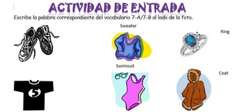 Spanish Realidades 7-A/7-B Vocabulary (Clothes) Entry Acti
