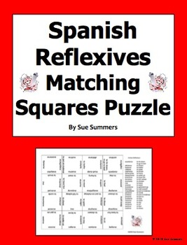 Spanish Reflexive Verbs 4 x 4 Matching Squares Puzzle