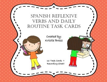Spanish Reflexive Verbs Task Cards with Daily Routine Vocabulary