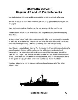 Spanish Regular ER/IR Preterite Battleship (Batalla naval)