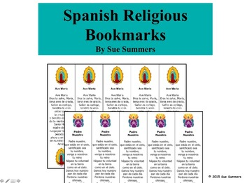 Spanish Religious Bookmarks - Ave María and Padre Nuestro
