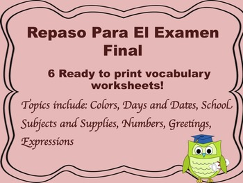 Spanish Review for Final Exam Worksheets levels 1-2