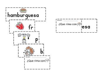 Spanish Rimas Flip-able booklet with -ESA  c-scope common core