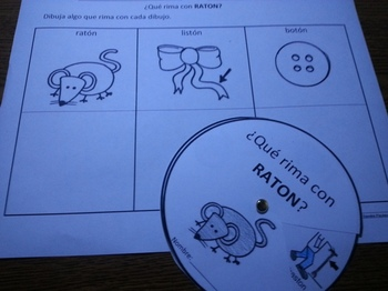 Spanish Rimas Circle with -TON and Drawing activity c-scop