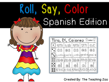 Spanish Roll, Say, Color Sight Words {Version 1}