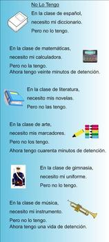 Spanish SMART Board Activities for the song No lo tengo