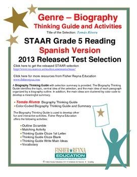 Spanish STAAR Analysis & Activities: Tomás Rivera, Grade 5