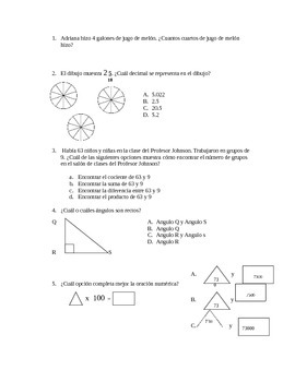 Spanish STAAR practice questions 4th grade Part 2