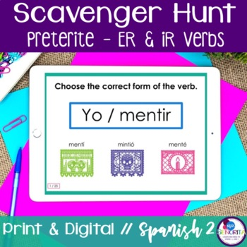 Spanish Scavenger Hunt - Preterite Tense (-ER & -IR Verbs)