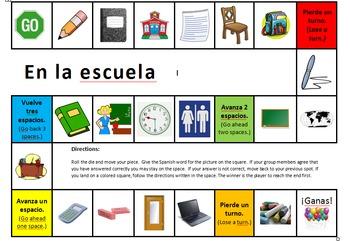 Spanish School / Classroom Object Board Game