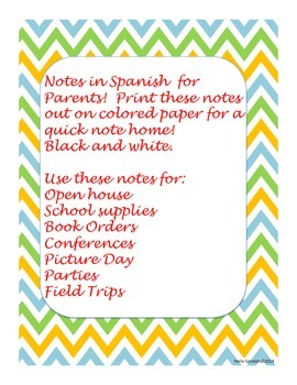 Spanish School Notes for Parents