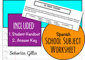Spanish School Subject Worksheet (Basic/Novice Vocabulary)