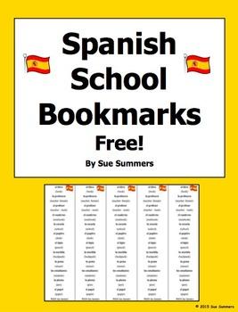 Spanish School Vocabulary Bilingual Bookmarks - Free!