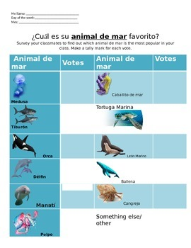 Spanish Sea Animals Survey