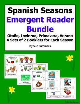 Spanish Seasons Emergent Reader Booklet Bundle - 4 Sets of