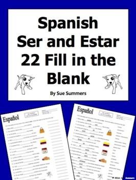 Spanish Ser and Estar 22 Fill in the Blank Practice Worksheet
