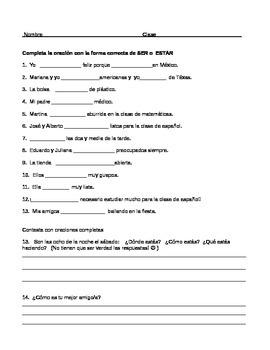 Spanish Ser or Estar Practice Worksheet or Quiz