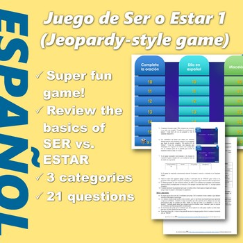 Español: Juego de SER vs ESTAR (1). (Ser vs. Estar. Jeopar