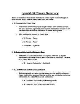 Spanish: Si Clauses