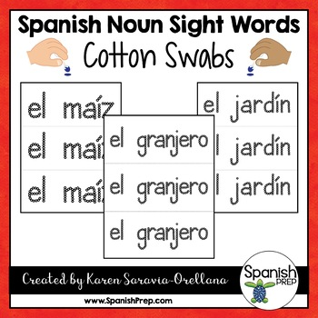 Spanish Sight Words Q-Tips Printables (Nouns)