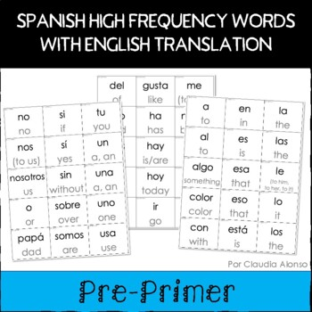 Spanish Sight Words with English Translation Cards (Pre-Primer)