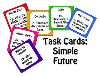 Spanish Simple Future Task Cards