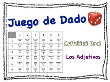 Spanish Adjectives Speaking Activity for Small Groups