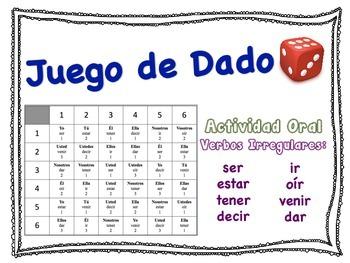 Spanish Irregular Verbs Speaking Activity for Small Groups