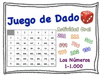 Spanish Numbers 1-1,000 Speaking Activity for Small Groups