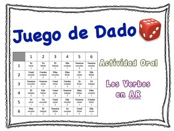Spanish Regular AR Verbs Speaking Activity for Small Groups