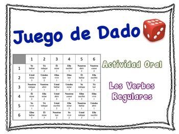 Spanish Regular Verbs (AR, ER, IR) Speaking Activity for S