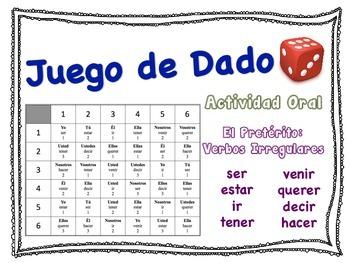 Spanish Preterite (Irregular Verbs) Speaking Activity for