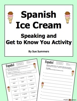 Spanish Speaking Activity / Get to Know You Activity - Hel