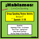 Spanish Speaking Activity Review- Version1 -  End of Year