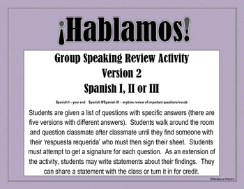Spanish Speaking Activity Review - Version 2 -  Spanish I,