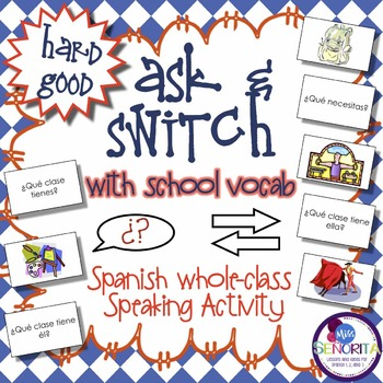 Spanish Speaking Activity with School Subjects & Supplies