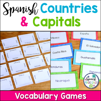 Spanish Speaking Countries and Capitals Matching Squares a