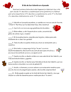 Valentine's Day Preterite and Imperfect Recognition