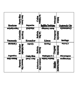 Spanish Speaking Countries and Capitals Puzzle