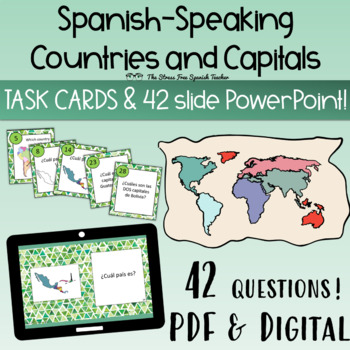 Spanish-Speaking Countries and Capitals Task Cards, 42 car