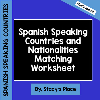 Spanish Speaking Countries and Nationalities Matching Quiz