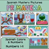 Spanish Spring Mystery Pictures! Color By Number / Grid fo
