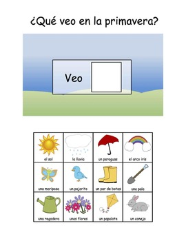Spanish and English Spring Vocabulary Books, Flashcards, a