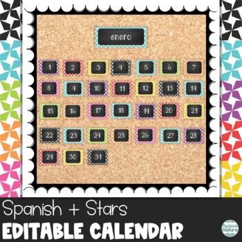 Spanish Star Chalkboard Classroom Calendar Set 9 Colors Bl