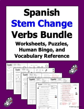 Spanish Stem Change Verbs Bundle - 8 Worksheets and Vocabu
