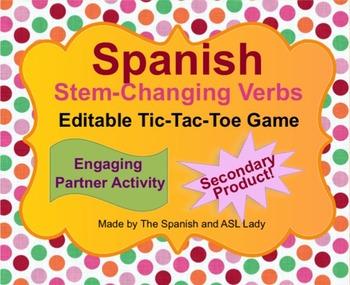 Spanish Stem Changing Verbs Tic Tac Toe Game