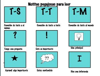 Spanish Sticky Note Reading