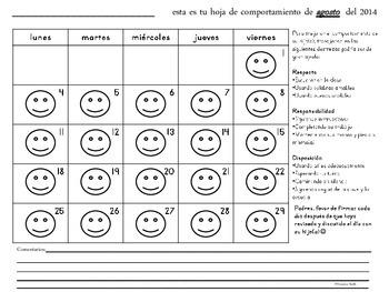 Spanish Student Behavior Chart